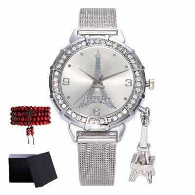 ZhouLianFa New products gadgets Models Ladies Mesh with Tower Pattern Leisure Quartz Watch with Gift Box and Beads