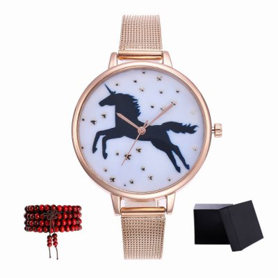ZhouLianFa New products gadgets Brand Women Pegasus Mesh with Leisure Quartz Watch with Gift Box and Beads