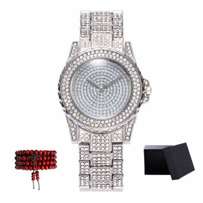 Kingou New products gadgets Ladies Steel Band All Diamonds Quartz Watch with Gift Box and Beads