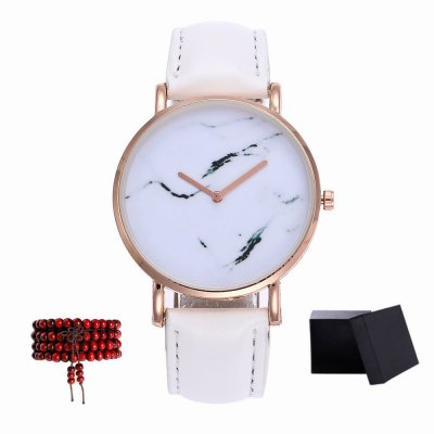 Kingou New products gadgets Rose Gold Dial Ladies Leather Quartz Watch with Gift Box and Beads