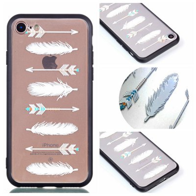 Cover Case for iPhone 8 Relievo Arrow Feathers Soft Clear TPU Mobile Smartphone Shell