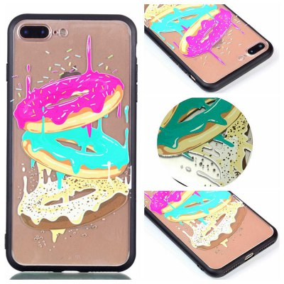 Cover Case for Iphone 8 Plus Relievo Tricolor Donut Soft Clear TPU Mobile Smartphone Cover Shell Case