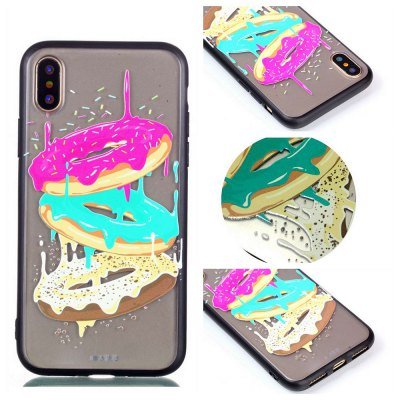 Cover Case for Iphone X Relievo Tricolor Donut Soft Clear TPU Mobile Smartphone Cover Shell Case
