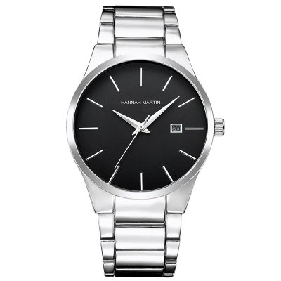 Men Stainless Steel Strap Business Casual Quartz Watch with Calendar