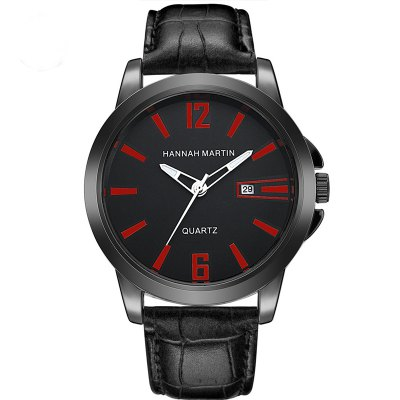 Men Bamboo Style Leather Band Waterproof Wrist Watch with Calendar