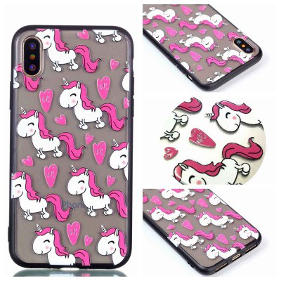 Cover Case for Iphone X Relievo Unicorn Soft Clear TPU Mobile Smartphone Cover Shell Case