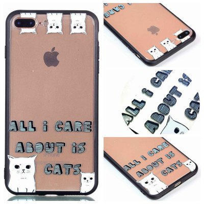 Cover Case for Iphone 8 Plus Relievo Cat Soft Clear TPU Mobile Smartphone Cover Shell Case