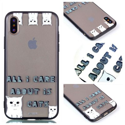 Cover Case for Iphone X Relievo Cat Soft Clear TPU Mobile Smartphone Cover Shell Case