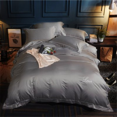 Washed Classic Imitate Silk Satin Plain Color Embroidery Bedding Set