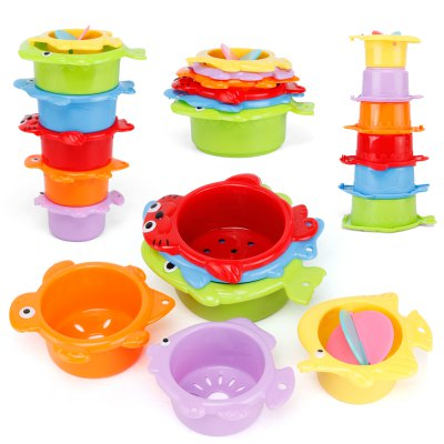 Baby Stacking Folding Cup Enlightenment Parent-child Bathroom Water Bath Toy