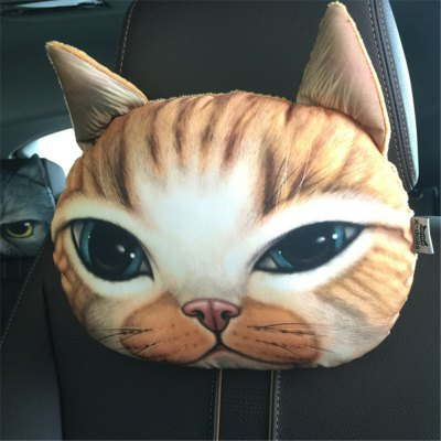3D Animal Head Car Neck Pillow Travel Seat Plush Creative Cat Face Sofa Seat Cushion with Bamboo Charcoal Bag