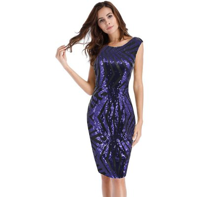 V Neck Sexy Package Hip Sequined Party Dress