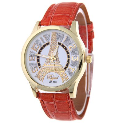 Exquisite Female PU Band Watch with Artificial Diamonds