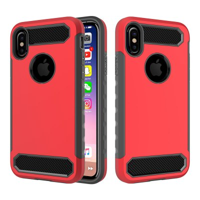 for iPhone X Shockproof Hard PC Flexible TPU Laminated Carbon Fiber Chrome Anti-scratch Protective Case