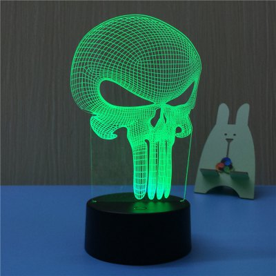 3D Alien Skull USB Touch And Control 7 Colour Night Light Bedroom Bedside LED Lamp