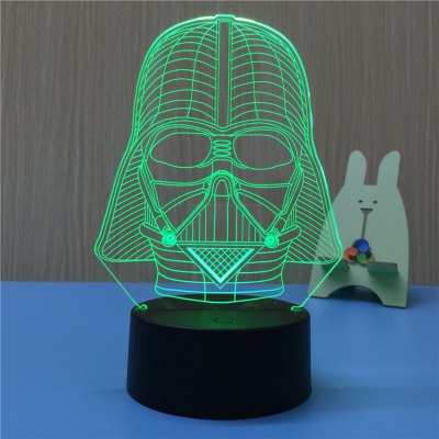 3D Black Knight USB Touch And Control 7 Colour Night Light Bedroom Bedside LED Lamp
