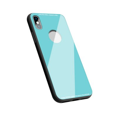 Tempered Glass Back and TPU Edge Hybrid Protection Cellphone Case for iPhone X
