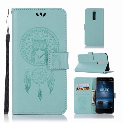 Lucky Wind Chimes The Owl Leather Cover for Nokia 8 Case With Stand Mobile Phone Accessory