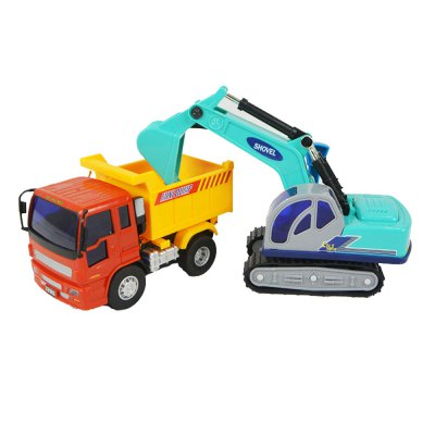 Children Toy Inertia Car Small Excavator Dump Truck Combination Package 2PCS