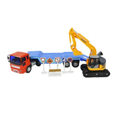 Children Toys Inertial Vehicles Long Arm Excavator Trailer Combination Package
