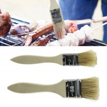 2 Pcs Barbecue Basting Brushes Bristle with Wooden Handle for Kitchen BBQ Grilling Camping
