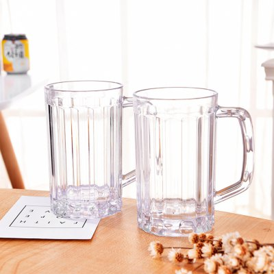 2Pcs Beer Glasses Clear Drink Party Cups Picnic Drinking Mug Tankards Great Gift