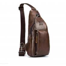 LAOSHIZI LUOSEN 2018 Men Fashion Vintage Genuine Leather Cowhide Travel Riding Motorcycle Messenger Sling Pack Chest Bag