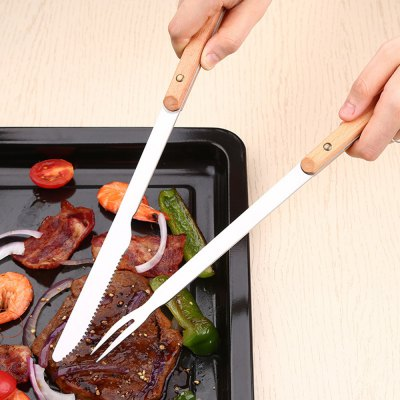 2PCS31CM Steel Wood Handle Barbecue BBQ Tools Outdoor Picnic Steak Knife Serving Fork Kitchen Meat Beef Forks
