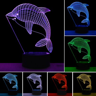3D Dolphin Design LED Table Lamp with USB Cable Night Lights For Children Kids Gifts