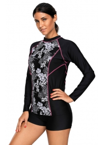 High Neck Long Sleeve Rashguard Surfing Diving Swimming Suit