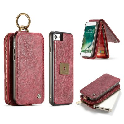 CaseMe for iPhone 8/ 7 Multifunctional Detachable Retro PU Wallet Case Magnetic Closure Card Holders 4.7 inch
