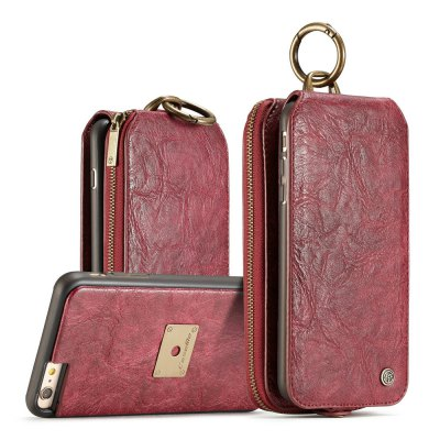 CaseMe for iPhone 6/ 6s Plus Case Zipper Multifunction Retro Wallet Upright Open Leather Case with Detachable Back Cover