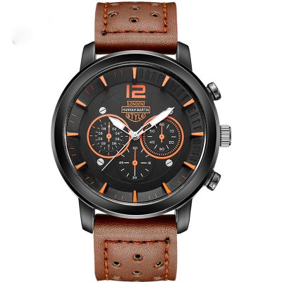 Hannah Martin Men New Sports and Leisure Fashion Breathable Strap Quartz Watch