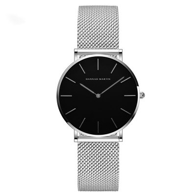 Hannah Martin Lady Stainless Steel Mesh Waterproof Fashion Casual Thin Quartz Watch