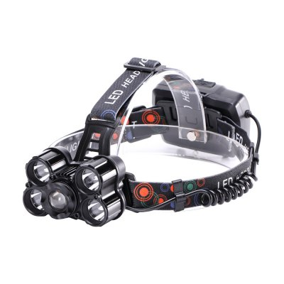 U`King 5000LM 5x XML-T6 4 Mode Zoomable Rechargeable Multifunction Headlamp with USB Charge Output Port