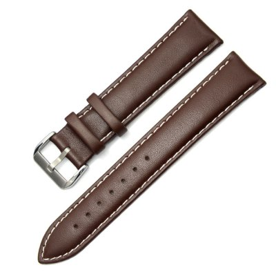 H5CB Untipped Brown Color White Stitched Lace Full Grains Genuine Leather Watch Strap 21mm Width