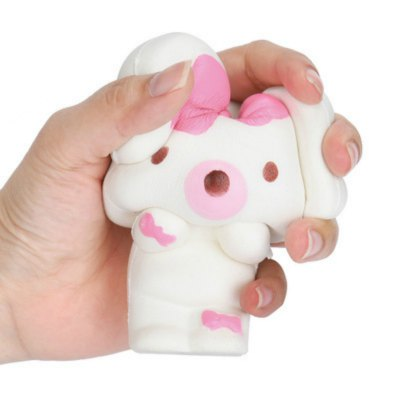 Jumbo Squishy PU Slow Rising Stress Relief Toy Replica Cartoon Pink Bow Rabbit for Adults