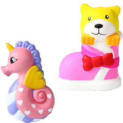 Jumbo Squishy PU Slow Rising Stress Relief Toy Replica Cartoon Combination of Hippocampus with Boots Dog for Adults 2PCS