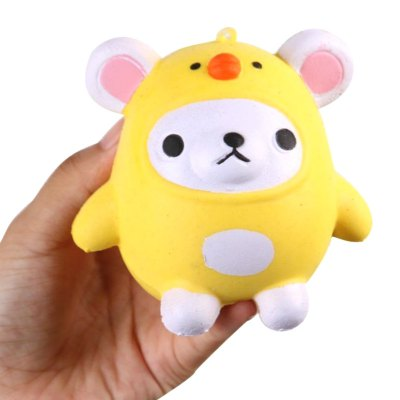 Jumbo Squishy PU Slow Rising Stress Relief Pendant Toy Replica Cartoon Chick for Adults