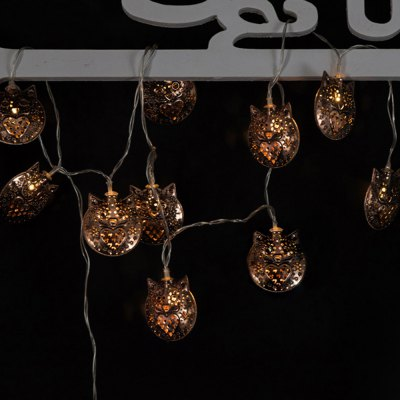 Battery-Powered Iron Bronze Owl String Light for Home and Garden Decoration 10 LEDs and 1.65m