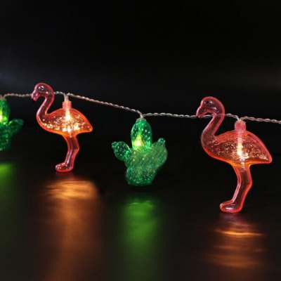 Battery-Powered Transparent Cactus Flamingo String Light for Home and Garden Decoration 10 LEDs and 1.65m
