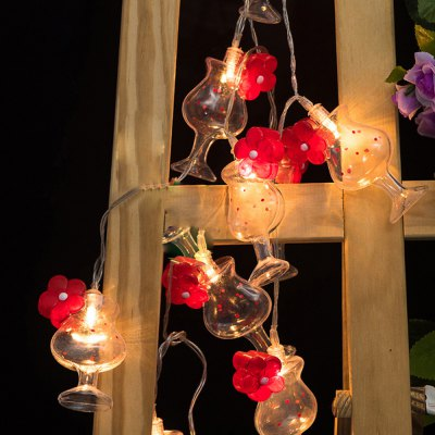 Battery-Powered 3D Wine Glasses with Flowers String Light for Home and Garden Decoration 10 LEDs and 1.65m