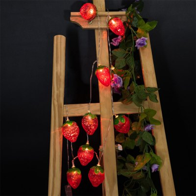 Battery-Powered Red Strawberry String Light for Home and Garden Decoration 10 LEDs and 1.65m