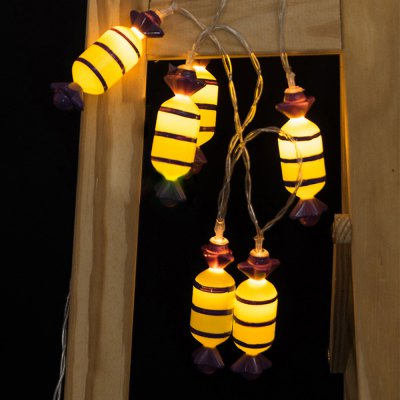 Battery-Powered Halloween Candy String Light for Home and Garden Decoration 10 LEDs and 1.65m