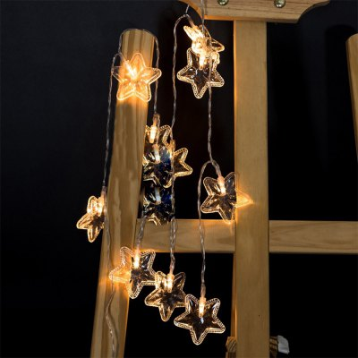 Battery-Powered Transparent Stars String Light for Home and Garden Decoration 10 LEDs and 1.65m