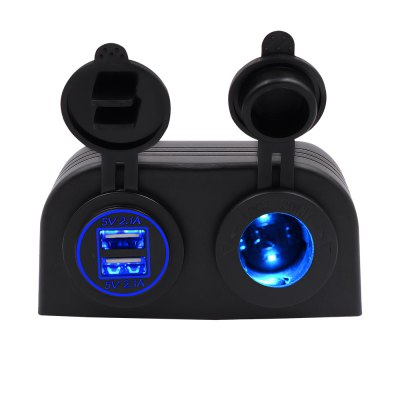 Two Hole Tent Type 4.2a Dual USB Charger + 12V/24V Cigarette Lighter Socket for Car Motorcycle Boat Marine ATV RV Blue