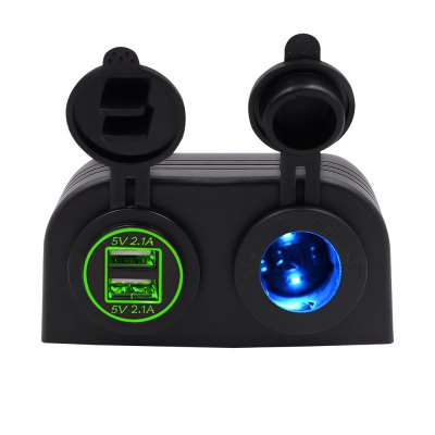Two Hole Tent Type 4.2a Dual USB Charger + 12V/24V Cigarette Lighter Socket for Car Motorcycle Boat Marine ATV RV Green