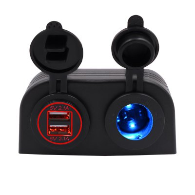 Two Hole Tent Type 4.2a Dual USB Charger + 12V/24V Cigarette Lighter Socket for Car Motorcycle Boat Marine ATV RV Red