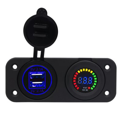 Dual USB 4.2A Charger Adapter and LED Voltmeter Panel Waterproof 12V-24V for Motorcycle Car Boat Marine Carvan Blue