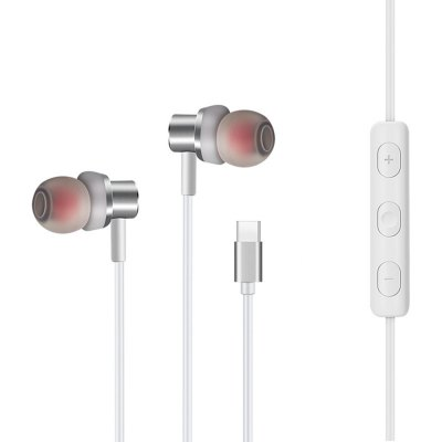 USB Type C Earbud Headphones with Mic and Volume Control Wired In-Ear Extra Bass Noise Cancelling for Xiaomi 6